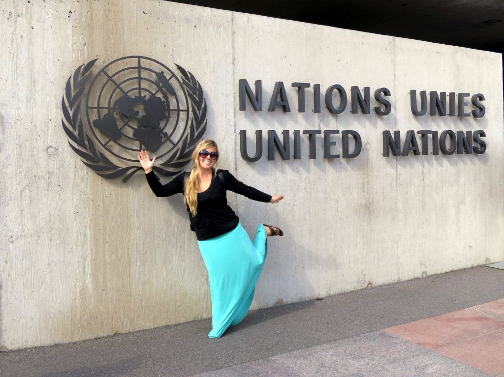 Chantae in front of the UN