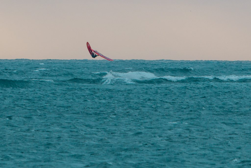 Coronations Windsurfer Jumping Sunset