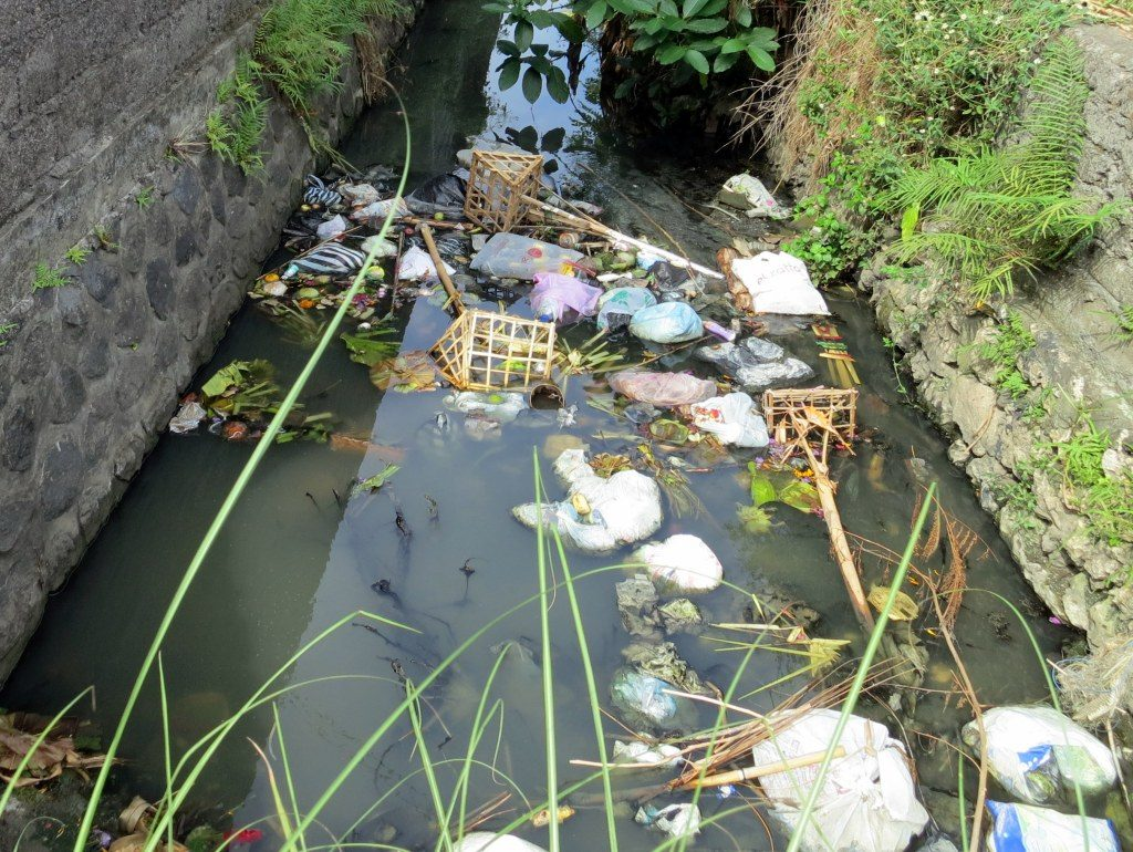 trash in waterways