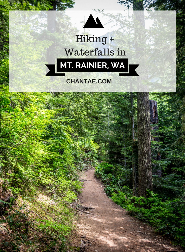 Hiking through waterfalls in Mt. Rainier, Washington's famous national park and active volcano.